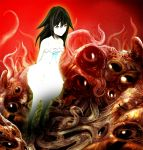 1girl bangs battoraa black_hair dress eyes flat_chest full_body hair_between_eyes hair_flaps horror_(theme) long_hair looking_at_viewer monster red_background saya saya_no_uta solo standing sundress teeth tentacle white_dress yellow_eyes