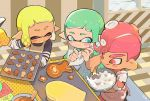 1boy 2girls :d ^_^ apron aqua_hair baking_sheet blonde_hair blue_apron blue_eyes bowl closed_eyes closed_eyes closed_mouth cookie dark_skin domino_mask fang food heart holding icing inkling kirikuchi_riku long_hair looking_at_another mask mohawk multiple_girls octarian octoling open_mouth oven_mitts pastry_bag pink_apron pink_hair pointy_ears polka_dot polka_dot_apron red_eyes short_hair smile splatoon splatoon_(series) splatoon_2 star suction_cups tentacle_hair tongue tongue_out whisk yellow_apron