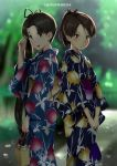 2girls :d artist_name bag bangs black_hair black_kimono black_ribbon blue_eyes blue_kimono blurry blurry_background blush bokeh brown_eyes brown_hair character_request closed_mouth day depth_of_field feet_out_of_frame floral_print hair_ribbon hand_up highres holding holding_bag japanese_clothes kantai_collection kimono long_hair looking_at_viewer multiple_girls obi open_mouth outdoors parted_bangs ponytail print_kimono ribbon sash side_ponytail smile standing tareme v-shaped_eyebrows v_arms wa_(genryusui) wide_sleeves