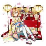 1girl ;) blonde_hair blue_eyes breasts choker cleavage collarbone detached_sleeves floral_print flower highres holding japanese_clothes kimono long_sleeves looking_at_viewer medium_breasts miniskirt official_art one_eye_closed philia_(sao) pink_flower pleated_skirt print_kimono print_sleeves short_hair skirt sleeveless sleeveless_kimono smile solo sword_art_online tabi thigh-highs transparent_background white_legwear white_skirt wide_sleeves yellow_kimono yellow_sleeves