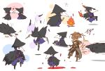artist_request bloodborne burning chibi eileen_the_crow fire hood hunter_(bloodborne) mask motion_lines plague_doctor_mask tagme