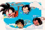 >_< +++ 4boys :d :o armor black_eyes black_hair blue_sky broly_(dragon_ball_super) brothers chibi clenched_hands clouds cloudy_sky dark_skin dark_skinned_male day dragon_ball dragon_ball_(classic) dragon_ball_super_broly finger_to_mouth flower flying flying_sweatdrops frown gloves happy looking_back looking_up monkey_tail motunabe707070 multiple_boys open_mouth raditz siblings sky smile son_gokuu spiky_hair sweatdrop tail vegeta white_gloves wristband younger