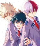 3boys bakugou_katsuki blonde_hair blue_eyes boku_no_hero_academia burn_scar commentary_request eyebrows_visible_through_hair freckles green_eyes green_hair grey_jacket jacket looking_at_another looking_at_viewer male_focus midoriya_izuku multicolored_hair multiple_boys necktie omega_2-d open_mouth red_eyes red_neckwear redhead scar school_uniform shirt short_hair simple_background smile spiky_hair teeth todoroki_shouto two-tone_hair upper_body v-shaped_eyebrows white_background white_hair white_shirt