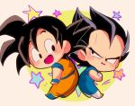 2boys :d annoyed back-to-back beige_background black_eyes black_hair blush boots chibi circle crossed_arms dougi dragon_ball dragonball_z frown happy looking_back male_focus motunabe707070 multiple_boys open_mouth simple_background smile son_gokuu spiky_hair star starry_background vegeta