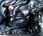 .hack// .hack//g.u. commentary_request gloves grey_hair masayoshi red_eyes silver_hair sword weapon