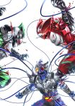 3boys absurdres arm_blade armor battle belt blood blue_skin bodysuit claws commentary compound_eyes fighting fins full_armor gauntlets gloves glowing green_skin helmet highres horn horns kamen_rider kamen_rider_amazon_alpha kamen_rider_amazon_neo kamen_rider_amazon_omega kamen_rider_amazons male_focus monster multiple_boys no_humans open_mouth red_eyes red_skin rider_belt scar sharp_teeth spikes sugaaru_(kusyunkun) teeth tentacle weapon white_eyes yellow_eyes