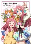 2girls ahoge apple blue_eyes bouquet bow child closed_eyes dated dress flower food fruit hand_up happy_birthday heart idol lily_(flower) minamoto_sakura multiple_girls polka_dot polka_dot_bow redhead rhubarb side_ponytail translation_request zombie_land_saga