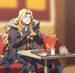 1boy akiyoku alucard_(castlevania) blonde_hair blush boots cape castlevania castlevania:_symphony_of_the_night closed_eyes eating food gloves hamburger long_hair male_focus silver_hair smile solo