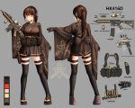 1girl absurdres assault_rifle black_legwear brown_hair character_sheet color_guide commentary foregrip glock gloves gun h&k_hk416 handgun headset highres holding holding_gun holding_weapon holster holstered_weapon load_bearing_equipment ohoo_7am orange_eyes original pistol ponytail rifle simple_background thigh-highs thigh_holster weapon wide_sleeves