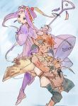 1boy 1girl animal_ears blue_eyes brown_hair commentary_request dress earrings grandia grandia_i hamagurihime hat jewelry knife liete_(grandia) long_hair looking_at_viewer pointy_ears purple_hair rapp_(grandia) simple_background staff