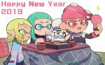 2019 2boys 2girls :d aqua_hair beard blonde_hair blue_eyes bowl cellphone chopsticks commander_atarime domino_mask facial_hair fang green_eyes green_tongue happy_new_year holding holding_chopsticks holding_phone inkling kirikuchi_riku kotatsu long_sleeves mask mohawk multiple_boys multiple_girls new_year octarian octoling old_man open_mouth phone pink_hair pointy_ears red_eyes self_shot shirt short_hair smartphone smile splatoon splatoon_(series) splatoon_2 star striped striped_shirt suction_cups table tentacle_hair
