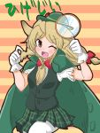 1girl ;d blonde_hair blush bow bowtie brown_eyes cape character_name darwin_ga_kita! eyebrows_visible_through_hair fake_facial_hair fake_mustache gloves green_cape green_headwear green_skirt hair_bow hat hige-jii_(darwin_ga_kita!) hige-jii_(darwin_ga_kita!)_(kemono_friends) highres holding_magnifying_glass kemono_friends long_hair looking_at_viewer magnifying_glass necktie ngetyan one_eye_closed open_mouth pantyhose pleated_skirt red_bow red_neckwear short_sleeves skirt smile solo striped striped_background white_gloves white_legwear
