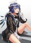 1girl arknights bangs black_jacket black_shorts blue_eyes blue_hair blue_tongue commentary feet_out_of_frame fur-trimmed_jacket fur_trim gradient gradient_background grey_background halo hand_in_hair hand_up horns jacket long_hair long_sleeves mostima_(arknights) shadow shirt short_shorts shorts silence_girl sitting solo thighs white_background white_shirt