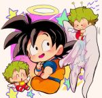3boys :> :d ^_^ angel_wings antennae beige_background black_eyes black_hair chibi closed_eyes closed_eyes creator_connection crossover dougi dr._slump dragon_ball dragonball_z feathered_wings halo looking_back male_focus motunabe707070 multiple_boys norimaki_gajira open_mouth simple_background smile son_gokuu spiky_hair star starry_background wings