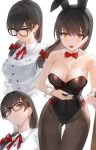 1girl :o animal_ears bare_arms bare_shoulders black-framed_eyewear black_hair black_legwear black_leotard blush bow breasts bunnysuit cleavage collarbone collared_shirt commentary_request fake_animal_ears glasses hair_bow hair_ornament hair_over_shoulder highres kfr large_breasts leotard long_hair long_sleeves looking_at_viewer mole mole_under_eye multiple_views neck_ribbon open_mouth orange_eyes original pantyhose rabbit_ears red_bow red_neckwear red_ribbon ribbon shirt simple_background strapless strapless_leotard thigh_gap upper_teeth white_background white_shirt wing_collar wrist_cuffs x_hair_ornament
