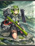 1girl bangs breasts city closed_mouth commentary_request day elbow_pads forest gia gloves goggles goggles_on_head green_hair gun headgear highres holding holding_gun holding_weapon kneeling lizard looking_at_viewer medium_breasts nature original outdoors railgun rifle short_hair short_sleeves sniper_rifle solo weapon yellow_eyes