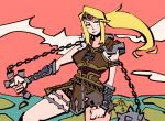 1girl armor belt blonde_hair blue_eyes castlevania chickenwithtie cosplay gloves headband long_hair looking_at_viewer metroid mole mole_under_mouth nintendo ponytail samus_aran simon_belmondo simon_belmondo_(cosplay) super_smash_bros. weapon whip