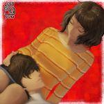 1boy 1girl amamiya_ren black_hair breasts brown_hair couple highres ikeda_(cpt) kawakami_sadayo medium_breasts persona persona_5 shirt short_hair sleeping smile striped striped_shirt