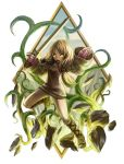 1girl blonde_hair boots breasts clouds commentary_request dress final_fantasy final_fantasy_tactics geomancer_(fft) gloves glowing glowing_eyes long_hair medium_breasts mountain open_mouth solo sword twintails weapon yellow_eyes