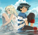 1boy 1girl back-to-back beach blonde_hair boots brown_eyes clouds commentary creatures_(company) dress game_freak green_eyes happy horizon knee_boots knees_to_chest kuriyama lillie_(pokemon) looking_to_the_side nintendo ocean pants pants_rolled_up pokemon pokemon_(anime) pokemon_sm_(anime) satoshi_(pokemon) side_braids sitting sky sleeveless sleeveless_dress smile tan wading water white_dress