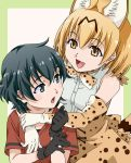 2girls amano_yoki androgynous animal_ears black_eyes black_gloves black_hair blonde_hair bow bowtie brown_eyes elbow_gloves gloves kaban_(kemono_friends) kemono_friends multiple_girls no_hat no_headwear open_mouth serval_(kemono_friends) serval_ears serval_print serval_tail shirt short_hair sleeveless sleeveless_shirt smile tail