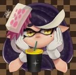 +_+ 1girl alternate_hairstyle aori_(splatoon) checkered checkered_background cup domino_mask drinking drinking_straw food food_on_head gloves hands_on_own_face hands_up isamu-ki_(yuuki) long_hair mask mole mole_under_eye object_on_head pointy_ears purple_hair signature solo splatoon splatoon_(series) splatoon_1 symbol-shaped_pupils tentacle_hair white_gloves yellow_eyes