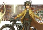1girl absurdres androgynous beige_coat belt belt_pouch brough_superior brown_belt coat collage_background collared_coat collared_shirt cowboy_shot green_eyes green_hair green_jacket green_pants ground_vehicle hair_between_eyes hermes highres jacket kino kino_no_tabi kuroboshi_kouhaku long_sleeves looking_away motor_vehicle motorcycle official_art outstretched_arms pants parted_lips pouch scan shirt shirt_under_jacket short_hair solo tomboy white_shirt wind