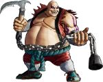 1boy 3d absurdres bald big_belly earthquake_(samurai_spirits) facial_tattoo full_body highres holding holding_weapon kusarigama official_art samurai_spirits sandals sharp_teeth sickle sleeveless solo tattoo teeth transparent_background weapon