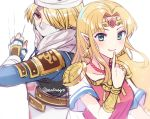 2girls androgynous bandage blonde_hair blue_eyes braid dark_skin dress earrings evvimayo gloves gown green_eyes hat jewelry long_hair looking_at_viewer mask multiple_girls nintendo pointy_ears ponytail princess_zelda red_eyes reverse_trap sheik smile super_smash_bros. surcoat the_legend_of_zelda the_legend_of_zelda:_a_link_between_worlds the_legend_of_zelda:_breath_of_the_wild the_legend_of_zelda:_ocarina_of_time tiara triforce weapon