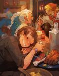 1boy 2girls :d akaneko_(redakanekocat) alcohol bar blonde_hair blue_earrings blurry blurry_background blush bone bottle bowl bracelet braided_ponytail closed_eyes cup deere_(pixiv_fantasia_last_saga) drooling faceless faceless_male food fork highres holding holding_cup index_finger_raised indoors jewelry kanoa_ao long_hair meat motion_blur multiple_girls open_mouth pixiv_fantasia pixiv_fantasia_last_saga plate ponytail rudia_of_the_moon_smile short_hair sketch sleeping smile spoon white_hair