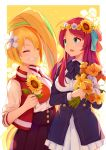2girls blonde_hair blue_eyes blush bouquet bow breasts closed_eyes commentary donggua_bing_cha eyebrows_visible_through_hair eyes_visible_through_hair floral_background flower green_hair grin hair_flower hair_ornament head_wreath highres jacket large_breasts lily_(flower) minamoto_sakura multicolored_hair multiple_girls necktie nikaidou_saki orange_hair polka_dot polka_dot_bow redhead ribbon school_uniform side_ponytail skirt smile streaked_hair sunflower zombie_land_saga