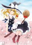 1girl apron black_headwear blonde_hair boots bow braid breasts broom broom_riding brown_footwear cherry_blossoms clouds cloudy_sky cross-laced_footwear day eyebrows_visible_through_hair flying frills full_body hair_ribbon hat hat_bow highres kirisame_marisa long_hair looking_at_viewer maid_apron medium_breasts off_shoulder petals ribbon short_sleeves side_braid skirt skirt_set sky smile solo touhou tress_ribbon vest witch_hat wrist_cuffs yellow_eyes yuricyan