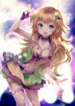 1girl blonde_hair blurry blurry_background breasts choker cleavage eyebrows_visible_through_hair fingerless_gloves fishnet_legwear fishnets floating_hair gloves green_eyes green_hair hair_ornament hoshii_miki idolmaster idolmaster_(classic) jewelry leaning_forward long_hair looking_at_viewer medium_breasts midriff miniskirt multicolored multicolored_clothes multicolored_hair multicolored_skirt navel necklace pleated_skirt purple_gloves single_thighhigh skirt solo standing stomach thigh-highs two-tone_hair very_long_hair vesper_(pixiv3568) w