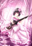 1girl absurdres bangs black_hair blush bob_cut checkered checkered_floor commentary curtains dress electric_guitar eyebrows_visible_through_hair eyelashes flower frilled_dress frills guitar hair_flower hair_ornament hair_ribbon harukaze_(rori_0826) highres huge_filesize instrument lips lolita_fashion long_dress musical_note nail_polish original petals pink pink_dress pink_eyes pink_nails pink_ribbon plectrum ribbon short_hair solo transparent_guitar