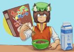 1girl :3 absurdres animal_ears bangs bowl brown_hair cereal cereal_box chanta_(ayatakaoisii) chen earrings eyebrows_visible_through_hair food green_headwear hat highres holding holding_spoon jewelry long_sleeves looking_at_viewer milk milk_carton mob_cap red_vest shirt short_hair smile solo spoon touhou upper_body vest white_shirt