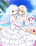 2girls 3: :o :p absurdres bangs bare_shoulders beach bird blonde_hair blue_eyes blue_sky blush bouquet breasts bridal_veil bucket chinese_commentary clouds collarbone commentary_request couple dahe_zhuang_(yishi_fanhua) day dress elbow_gloves eyebrows_visible_through_hair eyes_visible_through_hair feet_out_of_frame female flower frills gloves hair_between_eyes hair_ornament hairclip hand_up highres holding holding_flower hug layered_dress light_rays long_dress looking_at_viewer medium_breasts multiple_girls neck ocean open_mouth original outdoors palm_tree pink_ribbon purple_flower purple_rose red_flower red_rose ribbon rose sand seashell shell short_hair shovel silver_hair sky standing strapless strapless_dress tiara tongue tongue_out tree veil wedding_dress white_dress white_flower white_gloves white_rose wife_and_wife yellow_eyes yellow_flower yuri