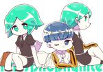 3others androgynous bangs blue_eyes blue_hair blunt_bangs character_name chibi chin_rest chiyoko_(oman1229) crystal_hair gem_uniform_(houseki_no_kuni) golden_arms green_eyes green_hair houseki_no_kuni looking_at_viewer lying multiple_others multiple_persona necktie on_stomach one_eye_closed phosphophyllite phosphophyllite_(ll) short_hair sitting smile spoilers white_background