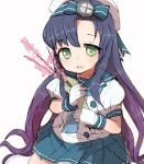 1girl alchera black_hair blue_neckwear blue_ribbon blue_skirt branch cherry_blossoms cowboy_shot gloves gradient_hair green_eyes kantai_collection long_hair looking_at_viewer matsuwa_(kantai_collection) multicolored_hair neckerchief pleated_skirt puffy_short_sleeves puffy_sleeves purple_hair ribbon school_uniform serafuku short_sleeves simple_background skirt solo tareme white_background white_gloves