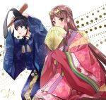 1boy 1girl bangs blush fan fan_la_norne feather_hair floral_print gloves hair_between_eyes hair_ornament hair_ribbon hakama hugo_el_superbia japanese_clothes kimono long_hair long_sleeves looking_at_viewer niameresp nintendo obi ribbon sash short_hair simple_background smile uchikake wide_sleeves xenoblade_(series) xenoblade_2 xenoblade_2:_ogon_no_kuri_ira yellow_eyes yukata