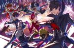 4girls akechi_gorou amamiya_ren animal athenawyrm bangs black-framed_eyewear black_hair blonde_hair blush bodysuit boots braid brown_eyes brown_hair cat fox_tail glasses gloves hat headphones jacket kitagawa_yuusuke long_hair looking_at_viewer mask morgana_(persona_5) multiple_boys multiple_girls niijima_makoto okumura_haru open_mouth orange_hair pants persona persona_5 plaid plaid_pants red_gloves red_legwear sakamoto_ryuuji sakura_futaba short_hair smile sword tail takamaki_anne twintails weapon whip