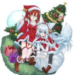 3girls :d animal_ear_fluff animal_ears bell black_legwear blue_eyes boots box breasts brown_footwear brown_hair capelet christmas christmas_ornaments christmas_tree commentary_request dress fox_ears fox_girl fox_tail fur-trimmed_boots fur-trimmed_capelet fur-trimmed_dress fur_trim gift gift_box hat highres long_hair long_sleeves minigirl multiple_girls open_mouth original pink_hair pointy_ears redhead sack santa_boots santa_costume santa_hat shirt silver_hair sitting smile tail transparent_background waichi white_shirt