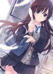 amamiya_chiharu bag blue_eyes brown_hair feathers locker long_hair necktie original pleated_skirt school_uniform skirt smile