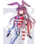 1girl animal_ears armor brown_eyes brown_hair highres iesupa long_hair rabbit_ears rwby solo tagme ultra_series ultraman ultraman_(hero's_comics) ultraman_suit velvet_scarlatina