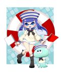 1girl 2019 :d baku_(bakunooekaki) black_footwear black_neckwear blue_eyes blue_hair boots dark_blue_hair dated dixie_cup_hat domino_mask eyebrows_visible_through_hair flag full_body hat highres holding holding_flag inkling jellyfish_(splatoon) knees_together_feet_apart lifebuoy long_hair long_sleeves looking_at_viewer mask military_hat neckerchief open_mouth pointy_ears sailor_collar school_uniform serafuku shorts smile socks splatoon splatoon_(series) splatoon_2 tentacle_hair thigh_gap white_shorts