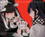 black_hair bonnet card celestia_ludenberck checkered checkered_scarf commentary danganronpa danganronpa_1 drill_hair english_commentary english_text gothic_lolita lolita_fashion long_hair nail_polish necktie new_danganronpa_v3 ouma_kokichi overine19 playing_card purple_hair red_background red_eyes scarf simple_background straitjacket tongue tongue_out twin_drills violet_eyes