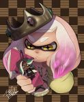 +_+ 1girl cellphone character_doll checkered checkered_background closed_mouth crown domino_mask frown gem highres hime_(splatoon) holding holding_phone iida_(splatoon) isamu-ki_(yuuki) long_sleeves mask medallion medium_hair mole mole_under_mouth multicolored_hair phone pink_hair signature smartphone solo splatoon splatoon_(series) splatoon_2 splatoon_2:_octo_expansion symbol-shaped_pupils tentacle_hair two-tone_hair white_hair yellow_eyes
