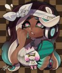 1girl bandanna bare_shoulders black_hair blue_eyes blue_hair breasts cellphone character_doll dark_skin furrowed_eyebrows gradient_hair hand_up headphones highres hime_(splatoon) holding holding_phone horizontal_pupils iida_(splatoon) isamu-ki_(yuuki) large_breasts long_hair mole mole_under_mouth multicolored multicolored_hair multicolored_skin octarian parted_lips phone pink_pupils signature sleeveless smartphone solo splatoon splatoon_(series) splatoon_2 splatoon_2:_octo_expansion suction_cups tentacle_hair two-tone_hair two-tone_skin upper_body