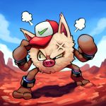 2018 anger_vein angry baseball_cap blue_sky clouds creature creatures_(company) day full_body game_freak gen_1_pokemon hat highres legs_apart looking_to_the_side nintendo no_humans outdoors pokemon pokemon_(anime) pokemon_(classic_anime) pokemon_(creature) primeape ravenousruss signature sky standing upper_body