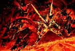 1boy black_background burning dragon embers fangs fire furnace glowing kamen_rider kamen_rider_build_(series) kamen_rider_cross-z male_focus molten_rock solo y_a_m_a_y_a