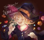 1girl bangs blonde_hair blue_neckwear boku_no_hero_academia candy checkerboard_cookie collarbone cookie cravat english_text fangs food halloween halloween_costume hat heart highres jam_cookie jelly_bean lollipop looking_at_viewer medium_hair nanaminn open_mouth sidelocks solo swirl_lollipop toga_himiko tongue tongue_out twitter_username witch_hat yellow_eyes